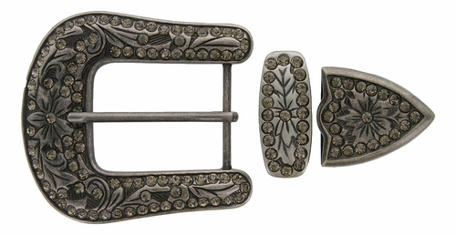 "HRABC27 ANIC Rhinestone 1 1/2"" Belt Buckle Set"