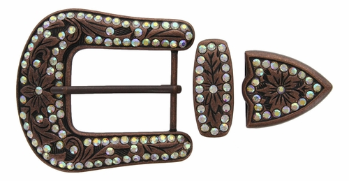 "HRABC27 COCL Rhinestone 1 1/2"" Belt Buckle Set"