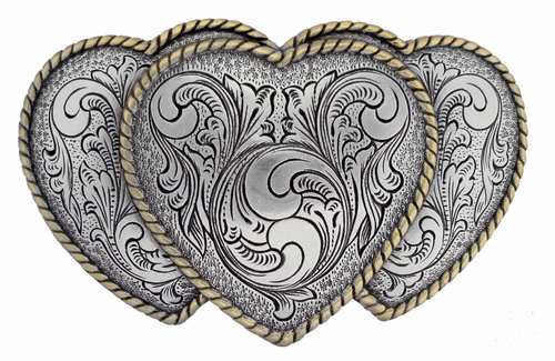 HA0086-1 ASAG Large Triple Three Heart Shape Western Womens Belt Buckle