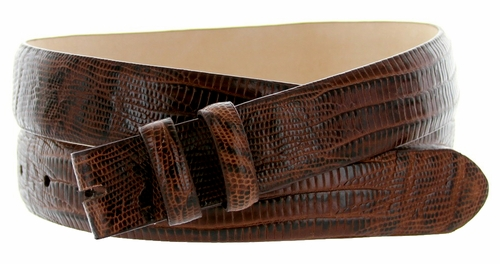"Lizard Grain 1 1/8"" (30mm) wide Belt Strap - Brown"