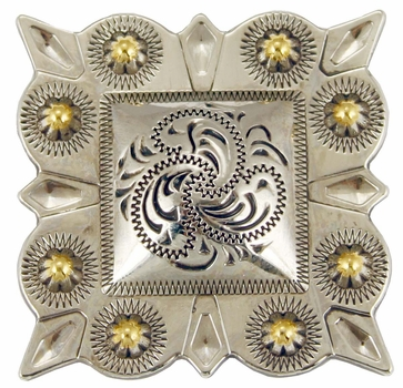"""LL-2324 OS/G Square Berry Concho 1-1/4"""" Old Silver/Gold"""