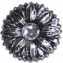 "LL-2909 OS Antique Silver Sunflower Crystal 2"" Concho"