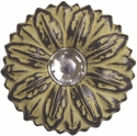 "LL-2909 Golden Yellow Sand Sunflower Crystal 2"" Concho"