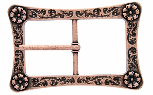 LL-3243 Copper Engraved Flower Center Bar Buckle
