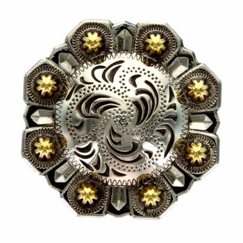 LL-3339 OS/GOLD 1-1/2 inch Old Antique Silver with Gold Octagon Berry Concho screw back