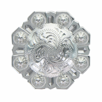 LL-3341 SP 1-1/4 inch Bright Silver Octagon Berry Concho screw back