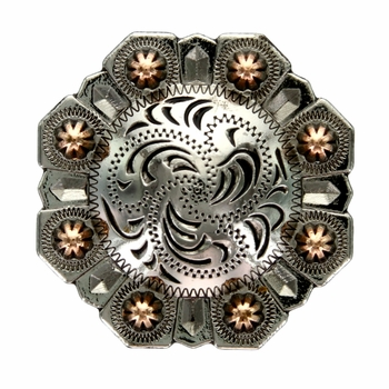 LL-3343 Black/Rg 2 inch Octagon Berry Concho screw back