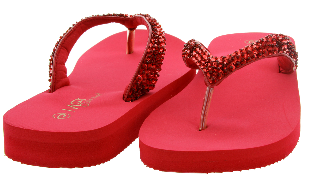 0f1a9e7f3 Mariposa Women Summer Bling Flip Flops Sandals - Red