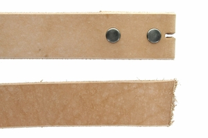 "Natural Cowhide Leather Belt Blanks with Snaps, 50""+ Long"