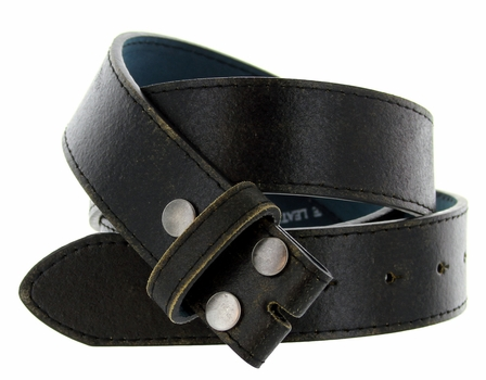 "BS57 Distressed Leather Belt Strap 1 1/2"" Wide - Black"
