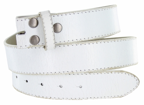 """NC57 Distressed Leather Belt Strap 1 1/2"""" Wide - White"""