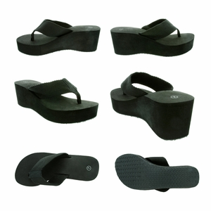 "Gino-4 Women's Flip Flop 2-3/4"" Heel - Black - SUPER SALE!"