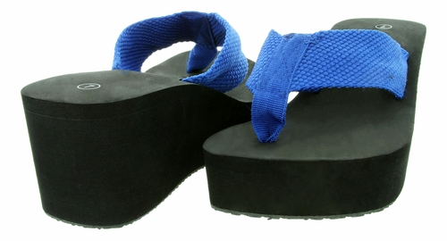 "New Gino-4 Women's Flip Flop 2-3/4"" Heel - Blue 18 Pair Per Case"