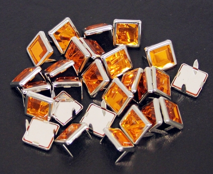"NH-188 Orange  3/8"" Synthetic Crystal Gem Square Spots 10/pk"