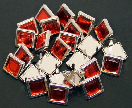 "NH-188 Red  3/8"" Synthetic Crystal Gem Square Spots 10/pk"