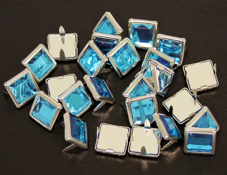 NH-189 Aqua  12.7mm Synthetic Crystal Gem Square Spots 10/pk
