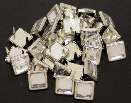 NH-189 Clear  12.7mm Synthetic Crystal Gem Square Spots 10/pk