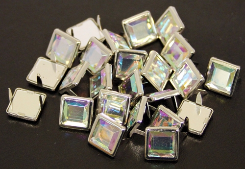 NH-189 Rainbow  12.7mm Synthetic Crystal Gem Square Spots 10/pk