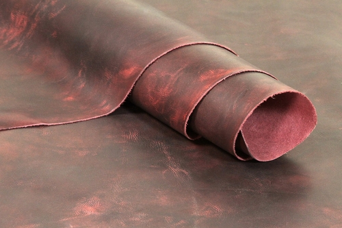 Oil Tanned Leather Cowhide 1.25mm 3oz - Burgundy
