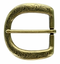"P3984 Western Floral Engraved Antique Brass Belt Buckle  fit's 1-1/2"" (38mm) wide Belt"