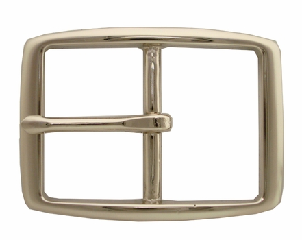 "S002B 1 1/4"" NP Solid Brass Polished Nickle Finish Belt Buckle"