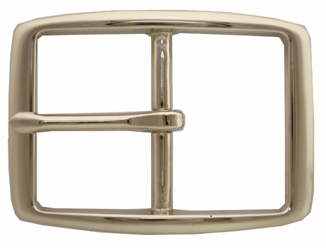 "S002B 1 1/2"" NP Solid Brass Polished Nickle Finish Belt Buckle"