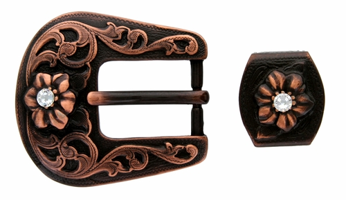 "S5445-1 Copper Color Buckle, Loop with Clear Rhinestones fits up to 3/4"" wide Belt"