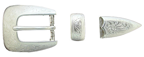 "S5527 3/4"" 19MM SP Shiny Silver Belt Buckle Set"