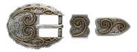 "S6747 ASAG 3/4"" Western Scallop Rope Edge Belt Buckle Set"