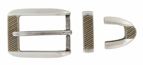 S8211 ASAG Antique Silver Small Gold Stripes Plated Buckle Set 1 1/8""