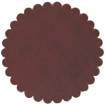 "Saddle Leather Scalloped Concho Rosettes No Hole 3"" - Burgundy"