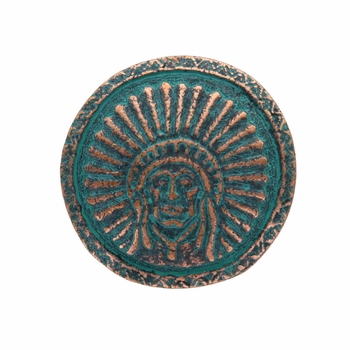 SC-580 Green Patina Round Headdress Concho 1-1/4""
