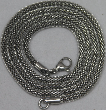"Silver Steel Necklace 3mm thick 19"" long"