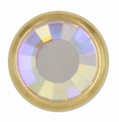 Swarovski 1780/100 11mm Gold-Plated Flatback Snap Fastener - Crystal AB