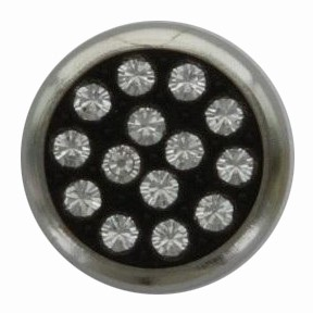 Swarovski 1780/114 11mm Silver-Plated Multi-Stoned Snap Fastener - Clear with Black Base