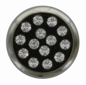 Swarovski 1781/114 11mm Silver-Plated Multi-Stoned Snap Fastener - Clear with Black Base