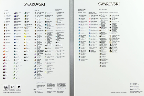 SWAROVSKI Color Chart Foldable and Standing Board 2088 XIRIUS Flat Back Rhinestones