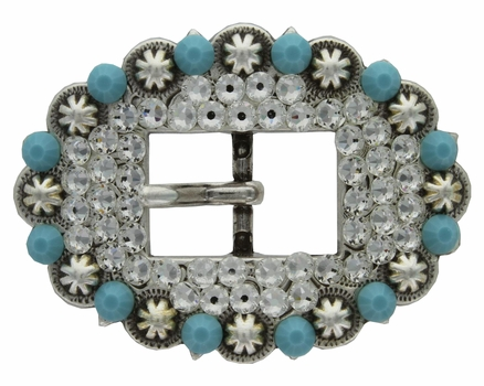 "Swarovski Rhinestone Crystal 3/4"" Antique Silver Cart Berry Centerbar Buckle -  Turquoise and Crystal"