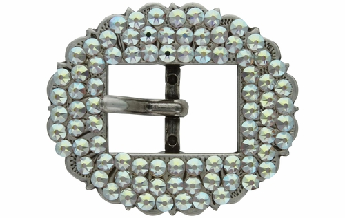 "Swarovski Rhinestone Crystal 3/4"" Antique Silver Cart Buckle - Crystal AB"