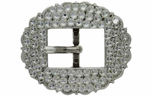 "Swarovski Rhinestone Crystal 3/4"" Antique Silver Cart Buckle - Crystal Clear"
