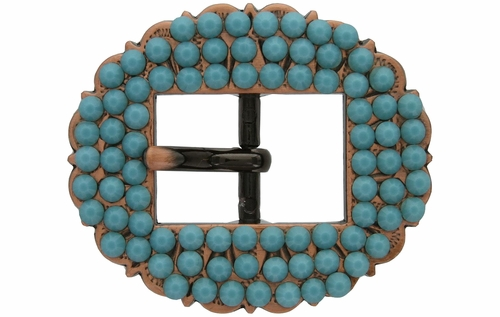 "Swarovski Rhinestone Crystal 3/4"" Copper Cart Buckle - Turquoise"