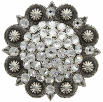 "Swarovski Rhinestone Crystal 3"" Antique Silver Berry Concho - Crystal"