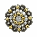 Swarovski Rhinestone Crystal Antique Silver Berry Concho - Crystal Clear and Crystal Aurum