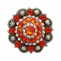 Swarovski Rhinestone Crystal Antique Silver Berry Concho - Fire Opal and Fire Opal AB