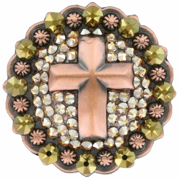 Swarovski Rhinestone Crystal Cross Berry Concho - Crystal Metallic Shine / Crystal Dorado