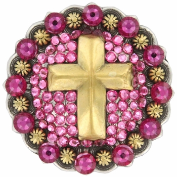 Swarovski Rhinestone Crystal Cross Berry Concho - Rose Fuschia