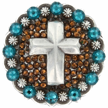 Swarovski Rhinestone Crystal Cross Berry Concho - Smoked Topaz / Blue Zircon
