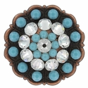Swarovski Rhinestone Crystal Floral Scalloped Edge Concho - Crystal / Turquoise
