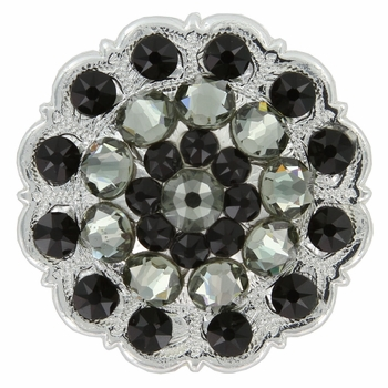 Swarovski Rhinestone Crystal Floral Scalloped Edge Concho - Jet / Black Diamond