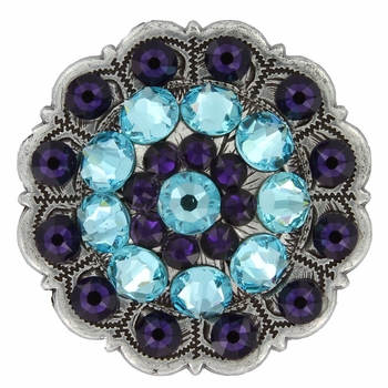 Swarovski Rhinestone Crystal Floral Scalloped Edge Concho - Light Turquoise / Purple Velvet